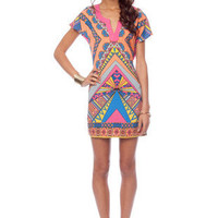 Indie Kimono Tunic Dress in Pink and Orange Multi :: tobi