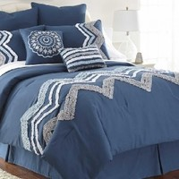 Kira Embellished 8-piece Comforter Set King Blue