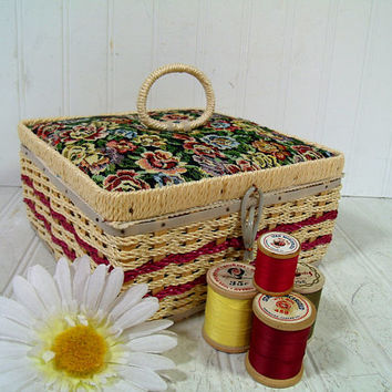 Vintage Natural Wicker & Floral Tapestry Fabric Sewing Basket Colorful Supplies Box with Burgundy Trim Lovely Satin Lined Wooden Square Tote