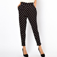 Black and White Dots Harem Pants