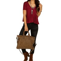 Sale-burgundy Movement Of Life Top