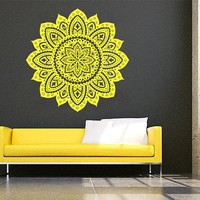 Wall Decal Vinyl Sticker Decals Art Decor Design Mandala Ganesh Indian Ornament Buddha Pattern Damask Bedroom Family Gift Dorm Modern(r1005)