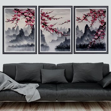 Cherry blossom art print, cherry blossom wall mural, cherry blossom japanese art set
