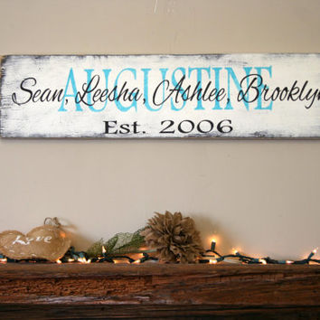 Personalized Name Sign Family Name Sign Custom Name Sign Wedding Anniversary Housewarming Shabby Chic Decor Distressed Wood Sign Handpainted
