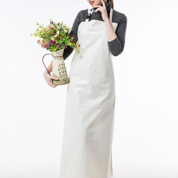 ICIK272 Long Apron Practical Unisex Adult Outsides Working  Cleaning Apron High Quality PU Waterproof Apron White/Green/Blue Color