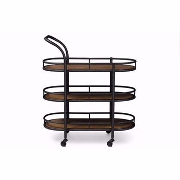 Antique Black Finish Metal Distressed Wood Mobile Kitchen Bar Serving Wine Cart By Baxton Studio