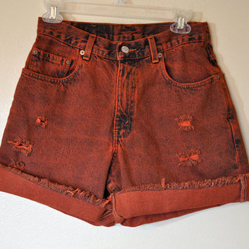 Vintage Levi's Denim SHORTS - Hand Dyed Orange Urban Style Denim High Waisted Distressed Vintage Cut-off Shorts - Mens size 29