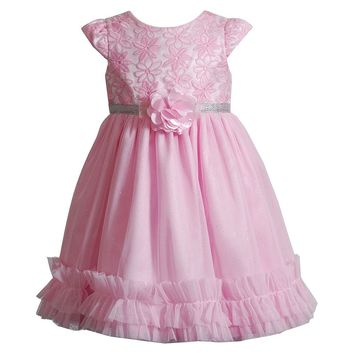 Youngland Flower Sparkle Ruffle Dress - Baby Girl, Size: