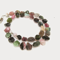 Genuine Tourmaline necklace, semi precious stone multicolored necklace, black, pink, green, brown tourmaline, healing crystal jewelry