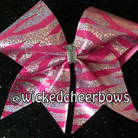 Cheer Bow - Pink & Silver Holographic Sequins