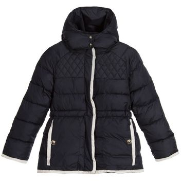 Chloe Girls Navy Blue Fancy Puffer Jacket