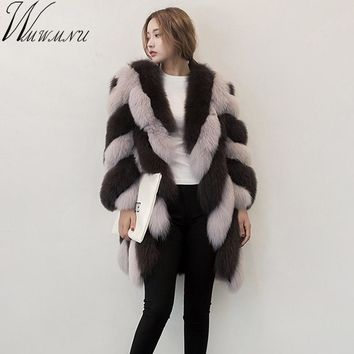 Wmwmnu 2017 new Nine Quarter Sleeve Winter Women High Imitation stripe Faux Fur Coat Jacket Fur Coat Women Clothes Fox Fur Coat