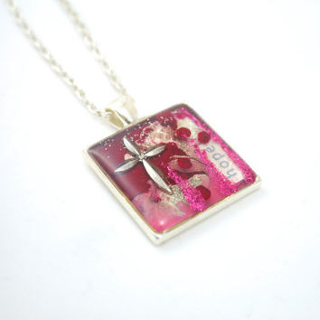 Trendy Hope Cross Necklace Red Pink Silver Christian Jewelry