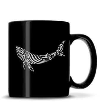 Premium Coffee Mug, Whale Design, 12oz (Black)