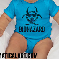 Science Baby Biohazard Shirt Funny Baby Creeper Biology Toxicology Chemistry Nerdy Toddler Shirt Infant Romper