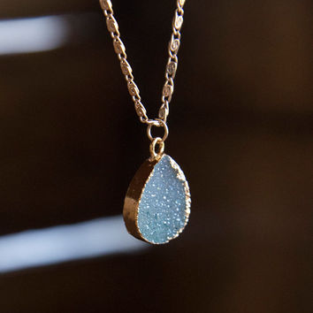 DRUZY CHARM CHOKER - (Aqua) -  Gemstone Jewelry Trendy Crystal Necklace Boho Chic Modern Gypsy Style Druzie Gifts for Teens Gifts for Her