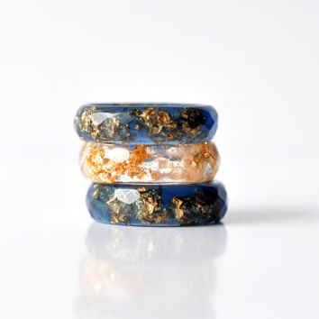 Deep Blue Faceted Ring with Gold Flakes - Thin Faceted Band Ring - Resin Stacking Ring - Minimal Resin Jewelry