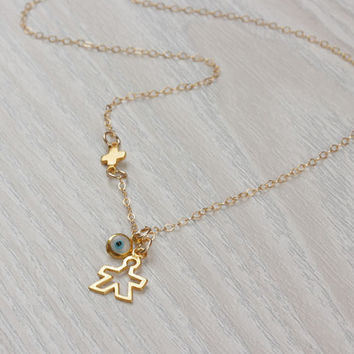 "New mom necklace, evil eye necklace, tiny sideways cross necklace, new mom jewelry, new mom gift, its a boy, gift for new mom, ""Istrus"""