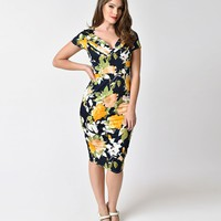 Unique Vintage 1950s Style Navy & Yellow Floral St. Pierre Wiggle Dress
