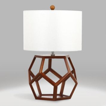 Brown Wood Open Geometric Edna Table Lamp and Shade Set