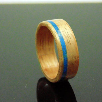 Wood ring Hawaiian Koa and Blue Chrysocolla