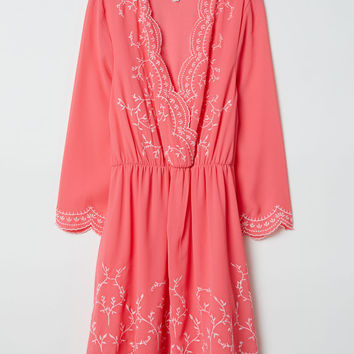 Embroidered dress - Raspberry pink - Ladies | H&M GB