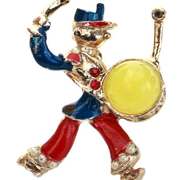Enamel and Rhinestone Clown Brooch with Yellow Cabochon / b7