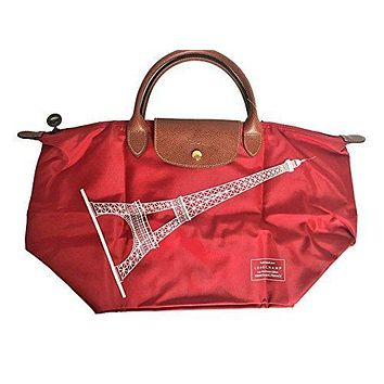 Longchamp Le Pliage Eiffel tower Tote 2017 special Limited edition_Red