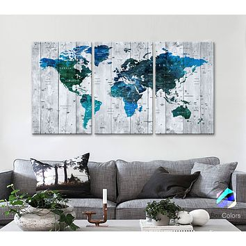 "LARGE 30""x 60"" 3panels 30x20 Ea Art Canvas Print Watercolor blue Map World Push Pin Travel M1813"