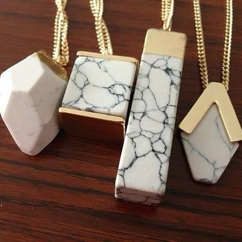 Geometric White Marble Faux Stone Pendant Necklace