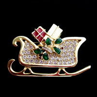 Vintage Christmas Brooch Rhinestones and Gold Sleigh