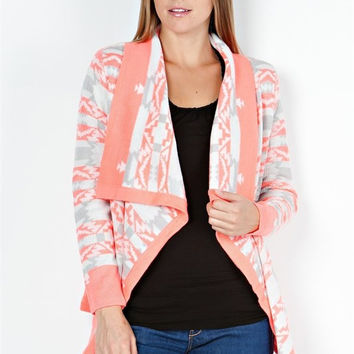 Emily Aztec Neon Coral Cardigan Sweater Jacket