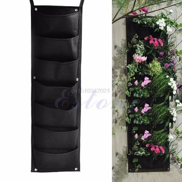 7-Pocket Indoor Outdoor Wall Balcony Herbs Vertical Garden Hanging Planter Bag