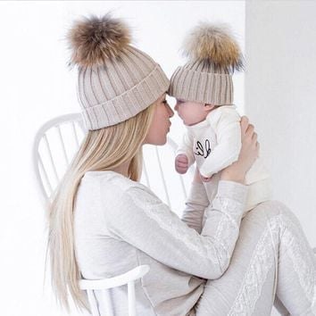 Mom and Baby Matching Knitted Hats Warm Fleece Crochet Beanie Hats Winter Mink PomPom Kids Children Mommy Headwear Hat Caps
