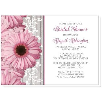 Rustic Pink Daisy Wood White Bridal Shower Invitations for only $1.95