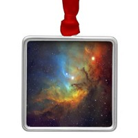 Tulip Nebula Square Metal Christmas Ornament