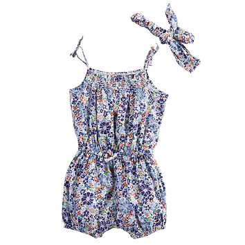 Baby Girl Floral Sleeveless Romper Spaghetti straps Jumpsuit +Headband Newborn Jumpsuits & Rompers Baby