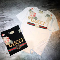 GUCCI 2018 New Women Fashion Short Sleeve Top F-GQHY-DLSX White