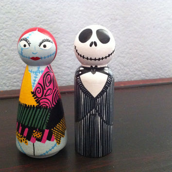 Jack and Sally from Nightmare Before Christmas- Halloween PegBuddies Jack Skellington Sally