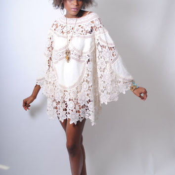 boho BELL SLEEVE 70s DRESS style ivory lace crochet patchwork sheer hippie mini dress