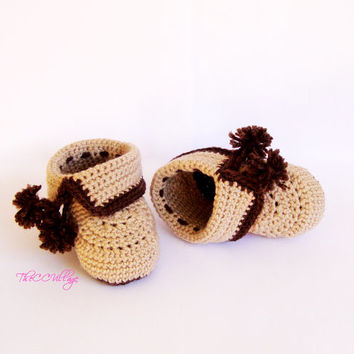 Brown, beige crochet baby booties, baby girl/ boy booties, shoes for him and her
