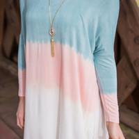 Sign Me Up Tunic, Mint-Peach