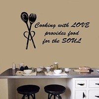 Wall Decals Quote Cooking with Love Provides Food for the Soul Fork Spoon Cafe Kitchen Words Vinyl Decal Sticker Living Room Decor Home Interior Design Art Murals