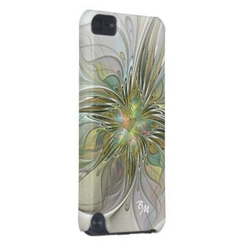 Floral Fantasy, Abstract Fractal Art Monogram iPod Touch (5th Generation) Covers