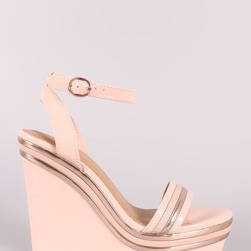 Bamboo Stripe Trim Ankle Strap Platform Wedge