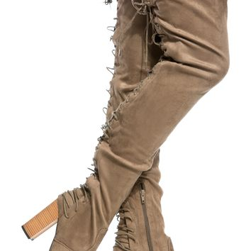Taupe Faux Suede Rear Lace Up Chunky Thigh High Boots @ Cicihot Boots Catalog:women's winter boots,leather thigh high boots,black platform knee high boots,over the knee boots,Go Go boots,cowgirl boots,gladiator boots,womens dress boots,skirt boots.