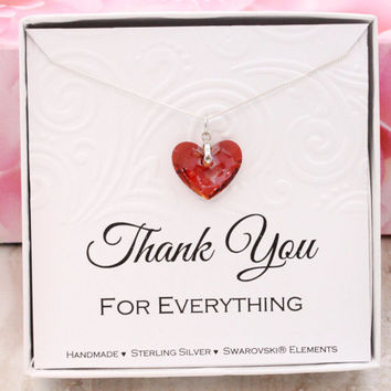 Thank you gift 925 sterling silver Swarovski crystal Red Heart necklace in a box hostess gift for friend, maid of honor, baby shower hostess