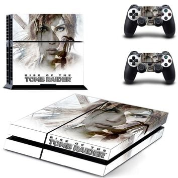 Rise of The Tomb Raider PS4 Skin Sticker Decal for Sony PlayStation 4 Console and Controller Skin PS4 Sticker Vinyl Accessories