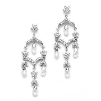 Delicate Bridal Chandelier Earrings in Brilliant CZ & Crystal 4178E