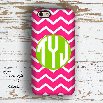 Monogram Iphone 6 case, Cute Iphone 5 case, Preppy iPhone 5c case, Chevron iPhone 6s case Girls fashion accessories, Pink lime chevron 9702P
